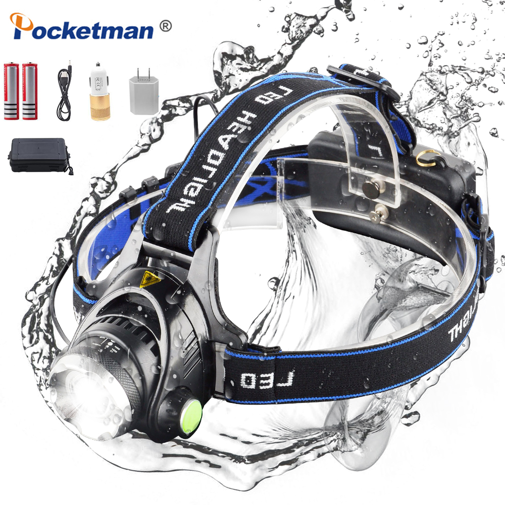 POCKETMAN T6 L2 8000 Lumens LED Headlamp Zoomable Headlight Waterproof Head Torch Rechargeable Flashlight Head lamp New