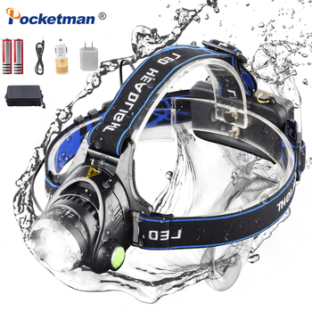 цена на POCKETMAN T6/L2 8000 Lumens LED Headlamp Zoomable Headlight Waterproof Head Torch Rechargeable Flashlight Head lamp New