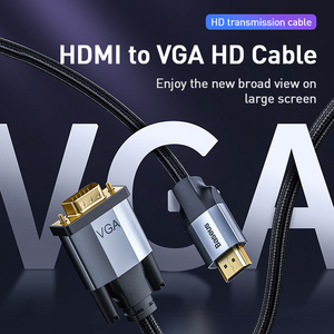 Image 2 - Baseus HDMI To VGA Cable 1080P HD A Male to Male VGA to HDMI Audio Adapter Cable For Projector PS4 PC TV Box HDMI VGA Converter