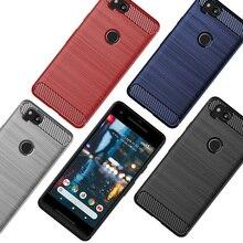 Macio Caso de Telefone Silicone Para O Google Pixel 3a XL Fibra De Carbono Bumper Capa Pixel3a 3aXL 2 3 4 2XL Pixel3 3XL Pixel4 4XL Pixel3aXL