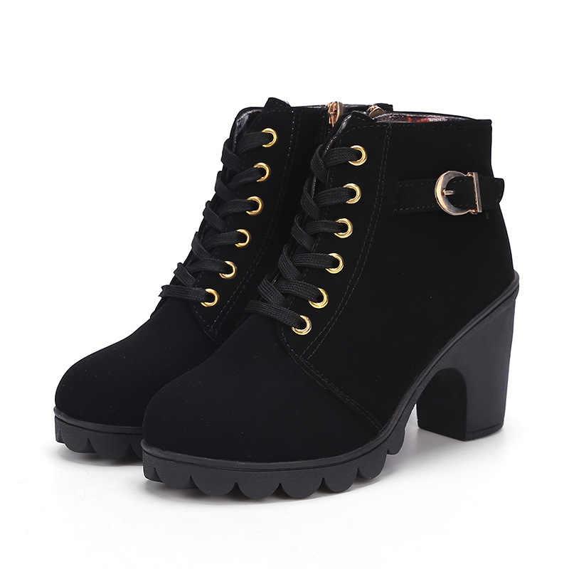 Botas de mujer zapatos de mujer botas de piel gruesa de Mujer Zapatos de goma de plataforma de tacón alto botas de nieve