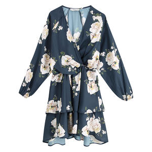 RR Loose V Neck Dresses Women Fashion Cascading Floral Printed Dress Women Elegant Long Sleeve Mini Dresses Female Ladies KR