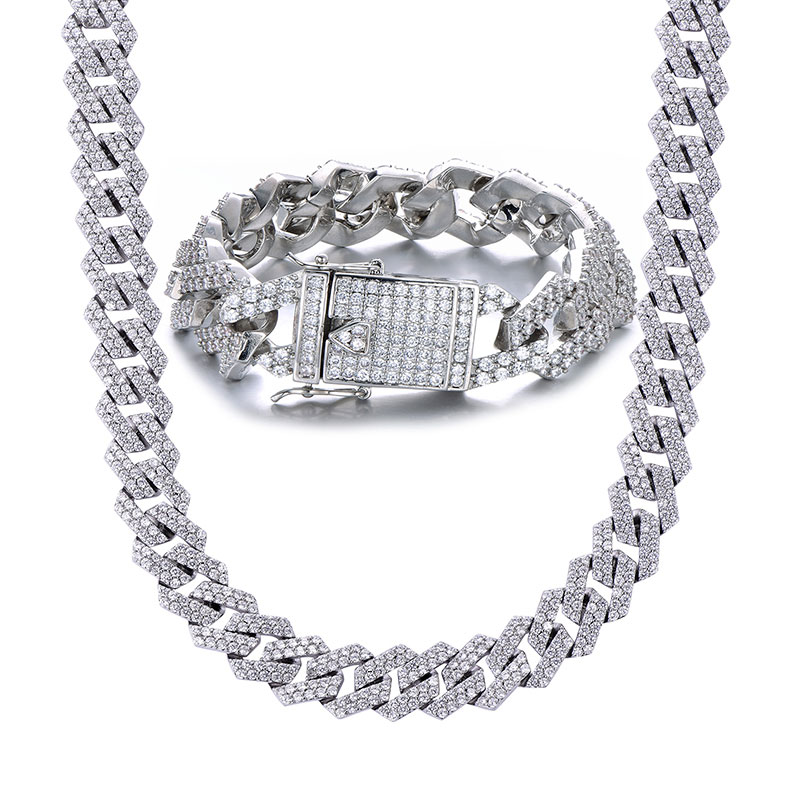 18MM Bling Heavy CZ glacé Miami lien cubain chaîne pleine cristal hommes Bracelet collier pour hommes rappeur bijoux 18