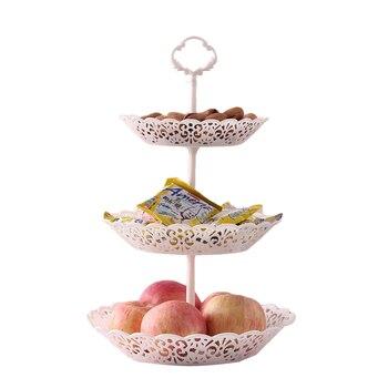 Soporte de cesta de fruta de 3 niveles, bandeja de mostrador portátil para servir, bandeja de exhibición para postres, dulces