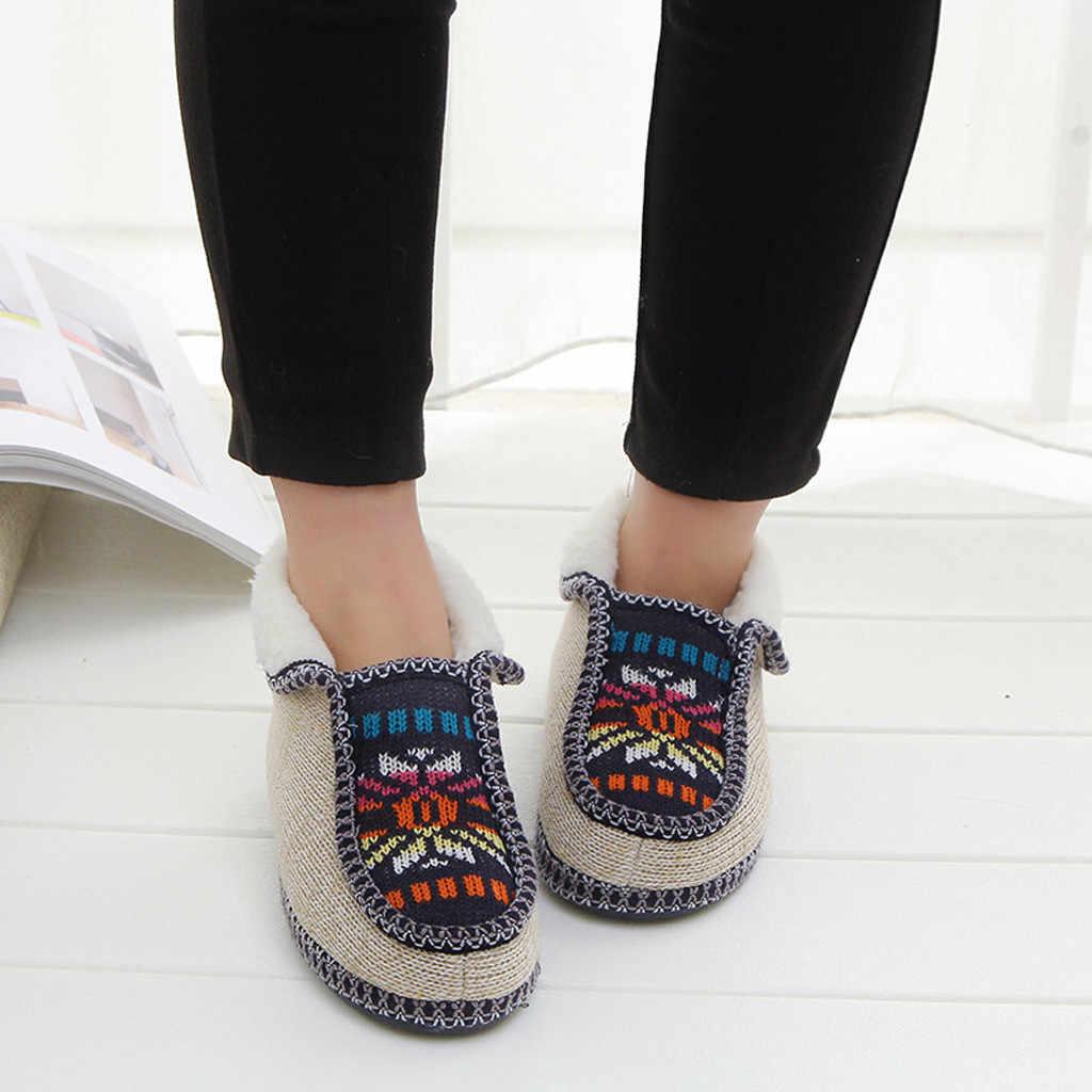 Artı Kadife ev Patik erkek sıcak kürk peluş Astarı ayakkabı kadın Örme Çiçekler Rahat Sıcak Pamuklu Sığ Ayakkabı kısa çizmeler