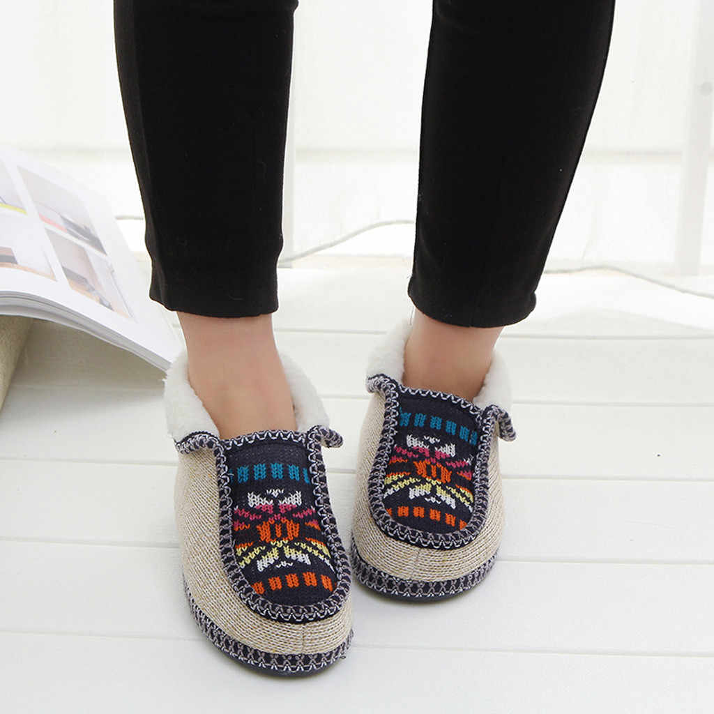 Çizmeler kadın örme çiçekler rahat sıcak pamuklu kadın ayakkabı kısa çizmeler botas mujer invierno 2019 kış kadın örgü botları