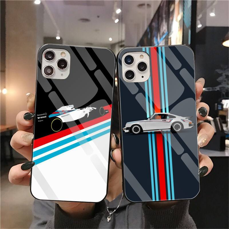 CUTEWANAN sport Racing auto Coque Shell Telefon Fall Gehärtetes Glas Für <font><b>iPhone</b></font> 11 Pro XR XS MAX 8X7 6S <font><b>6</b></font> <font><b>Plus</b></font> SE 2020 fall image