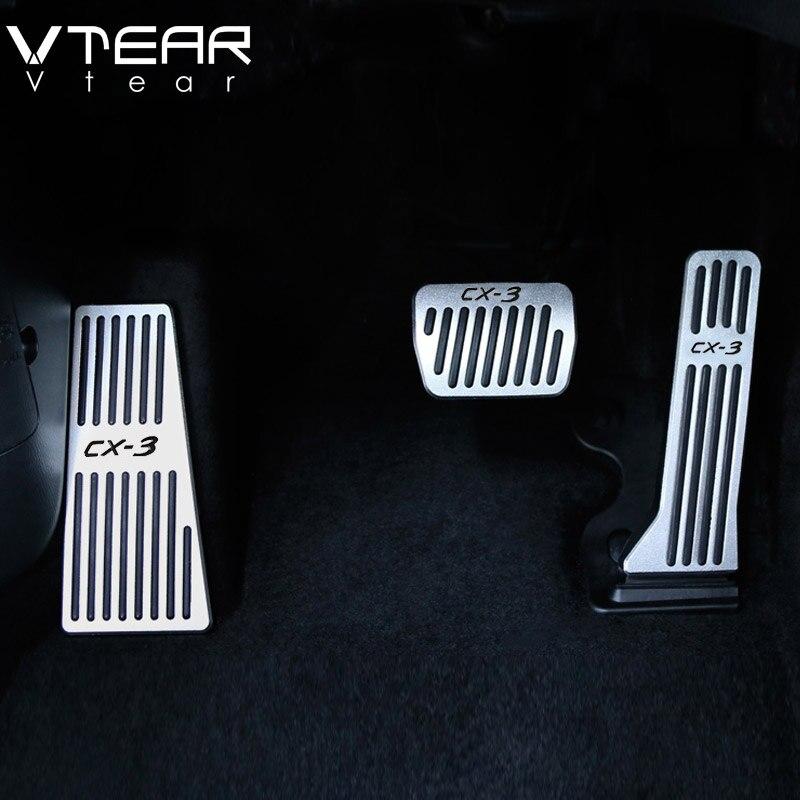 Vtear-Acelerador de coche para Mazda CX3 CX-3, reposapiés de aceite, placa de Pedal, embrague, acelerador de freno, accesorios interiores 2019 2020