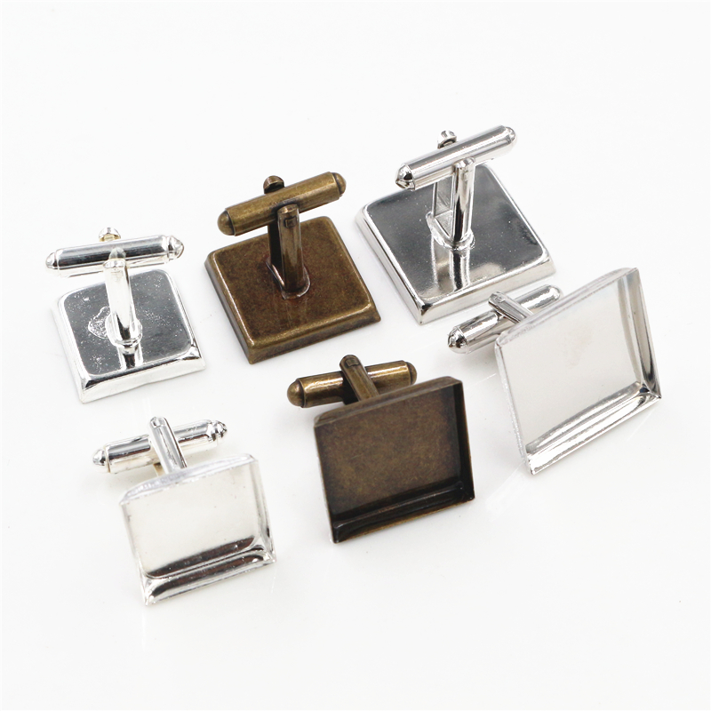 10pcs/ Lot Square 16mm,18mm,20mm, 3 Colors Plated Square Copper Cufflink Base Cuff Link Settings Cabochon Cameo Base