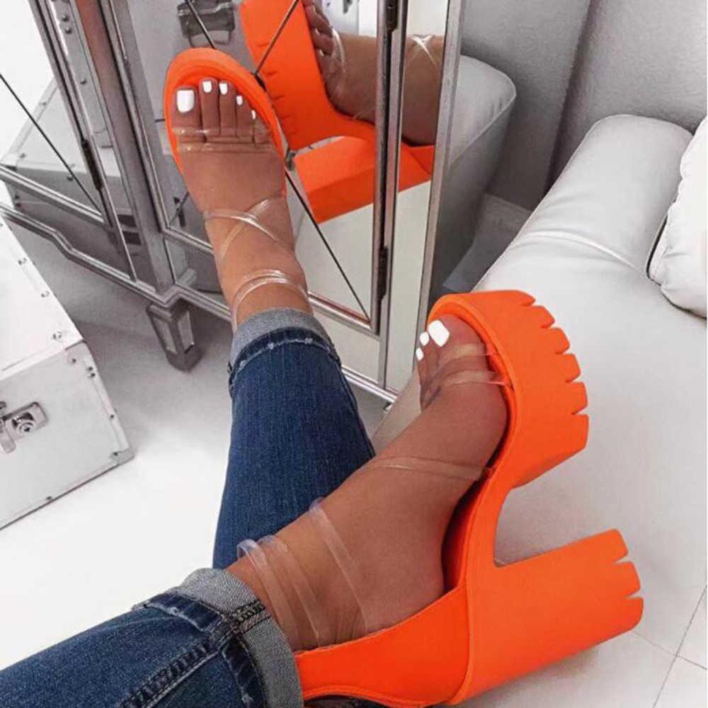 2020 Phụ Nữ Trong Suốt Giày Sandal Cao Gót Nữ Dép Màu Kẹo Mở Ngón Chân Dày Gót Thời Trang Nữ Trượt Giày Mùa Hè