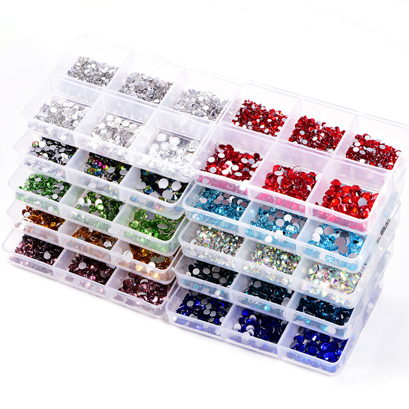 1200pcs Mix Sizes Glass Crystal Non Hot Fix Rhinestone Set Flatback Crystal Nail Rhinestones Diamond For DIY Decorations B3900