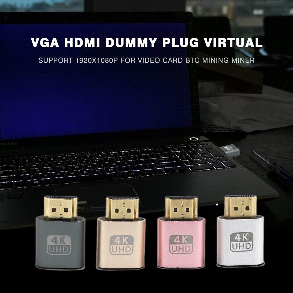 VGA HDMI Dummy Plug Virtual Display Emulator Adapter DDC Edid Support 1920x1080P For Video Card BTC Mining Miner-3