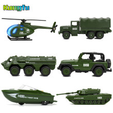 Diecast 6 Styles Mini Military Vehicles Alloy Army Tank Model Toys for Children Plastic Gliding Car Truck Kids Toy Gifts for Boy(China)