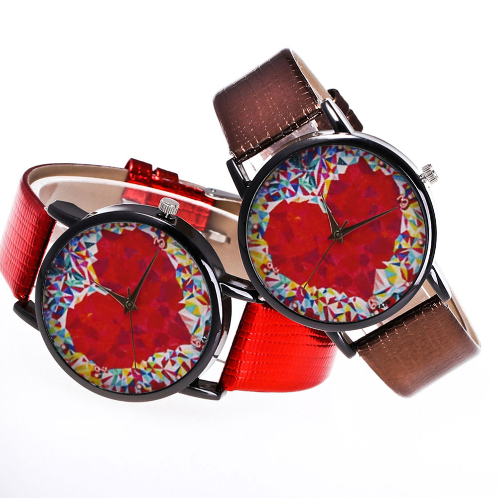 Colorful Printed Couple Quartz Watch Round Dial Watches Unisex Watches Gifts For Men Women  LL@17