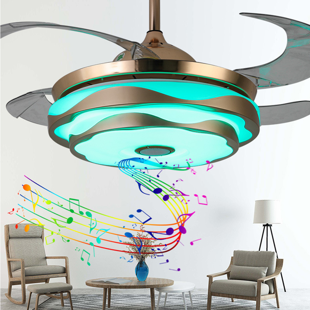 Ceiling Fan Music Musical Led Lamp With Light Remote Control Mobile Phone App Bluetooth Modern 42-inch Invisible Bedroom Decor Punctual Timing