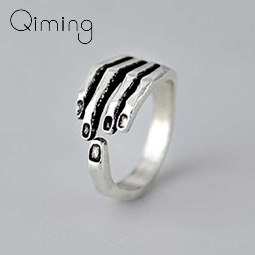 Skull Hand Vintage Punk แหวนเด็กผู้หญิงคริสต์มาสพรรคผู้ชายเครื่องประดับงานแต่งงานของขวัญ Charming แหวนเงิน Bague