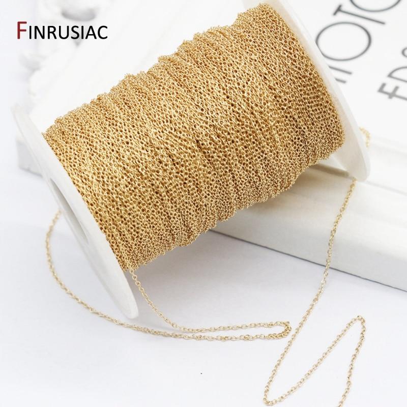 14K, покрыто настоящим золотом, 1,3 мм тонкая цепочка для бижутерии, материал для рукоделия, латунные цепочки, аксессуары Findings