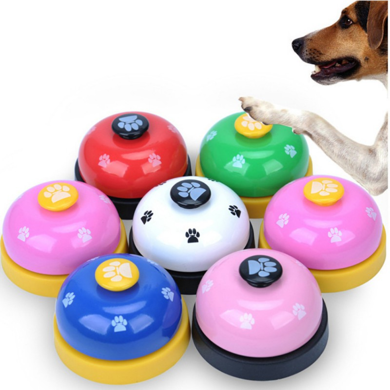 Pet Toy Training Called Dinner Small Bell Footprint Ring Dog Toys For Teddy Puppy Pet Call-0