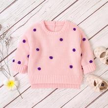 Детские свитера для девочек; модные вязаные пуловеры в горошек; Джемперы; Осенняя повседневная трикотажная одежда для новорожденных мальчиков; топы с длинными рукавами; детская одежда