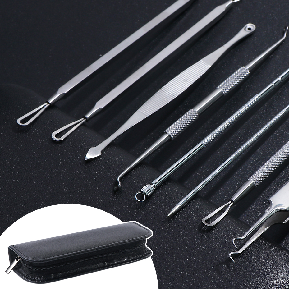 1Set Acne Clipper Tweezers Pimple Blackhead Remover Needles Facial Care Stainless Steel Cleaning Tools Beauty Kits LYMP01-02