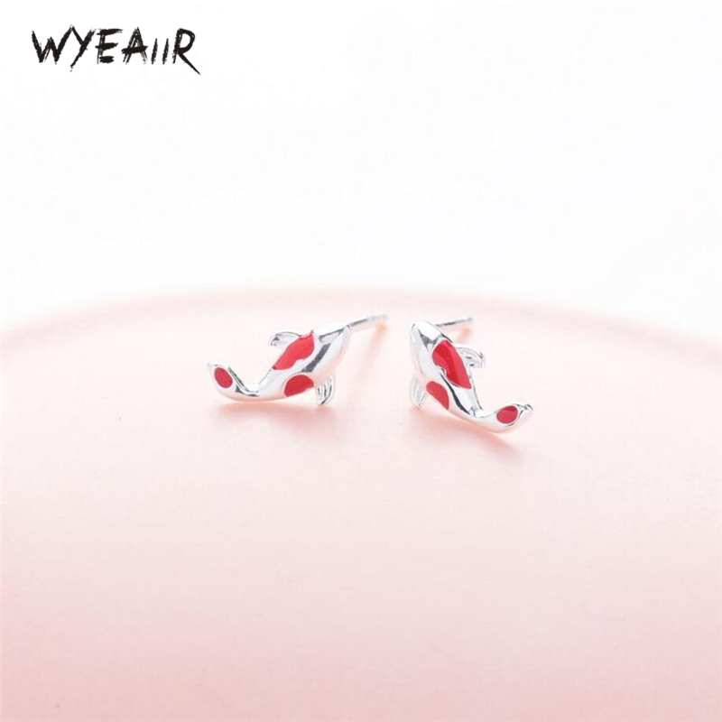 WYEAIIR Colorful Good Luck Carp Cute Mini Art Cool 925 Sterling Silver Fashion Female Stud Earrings