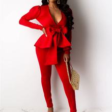 Adogirl Bow Ruffle Fashion Casual Two Piece Set Office Lady Business Suit V Neck