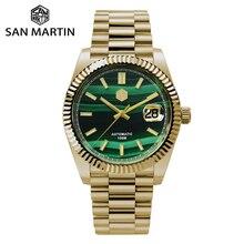 San Martin Retro DATE JUST Business Luxury Sapphire Men Automatic Mechanical Watches Carving Bezel 10Bar BGW-9 Lume Date Window