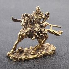 Brass Riding Guan Gong Desk Decoration Bronze God of Wealth Guan Erye Buddha Statue Copper Office