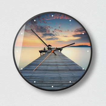 New 3D Wall Clock Sea And Sunset Series HD Wall Clock Modern Design Metal Silent Movement Wall Clock Large Size Home Decoration
