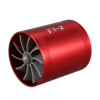 Doppel Turbine Turbo Charger Air Intake Gas Fuel Saver Fan für Auto (rot) Ventile & Teile    -