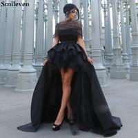 Smileven Dubai Black Evening Dress High Low Off The Shoulder saudi arabia Evening Party Dress robe de soiree