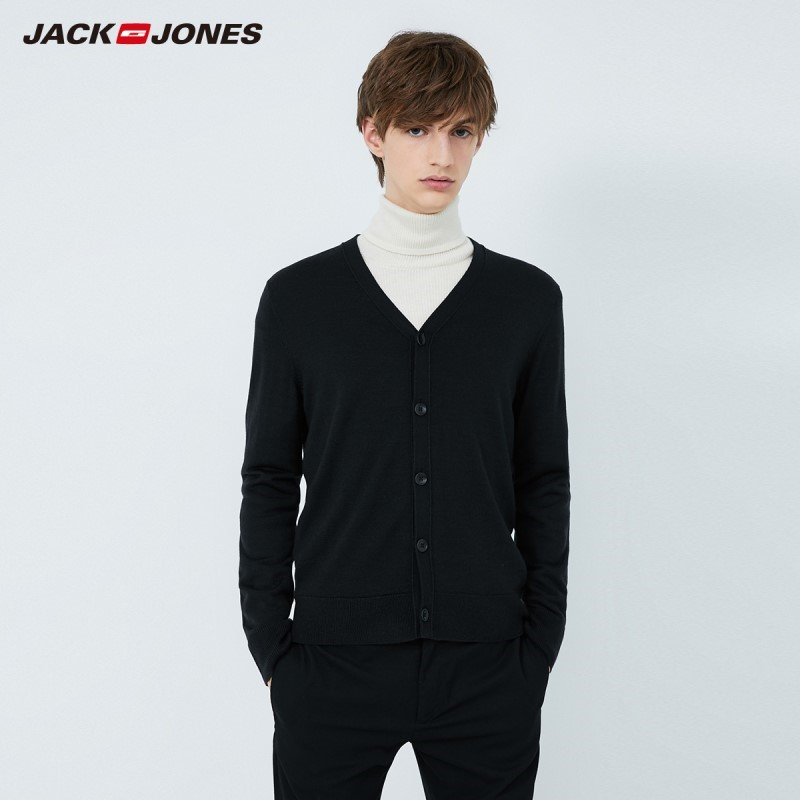 JackJones Men's V-neck Knitting Smart Casual Basic Cardigan 219424502