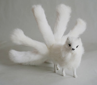 cute simulation white fox toy plastic&fur real life nine tails fox doll gift about 30x12.5cm