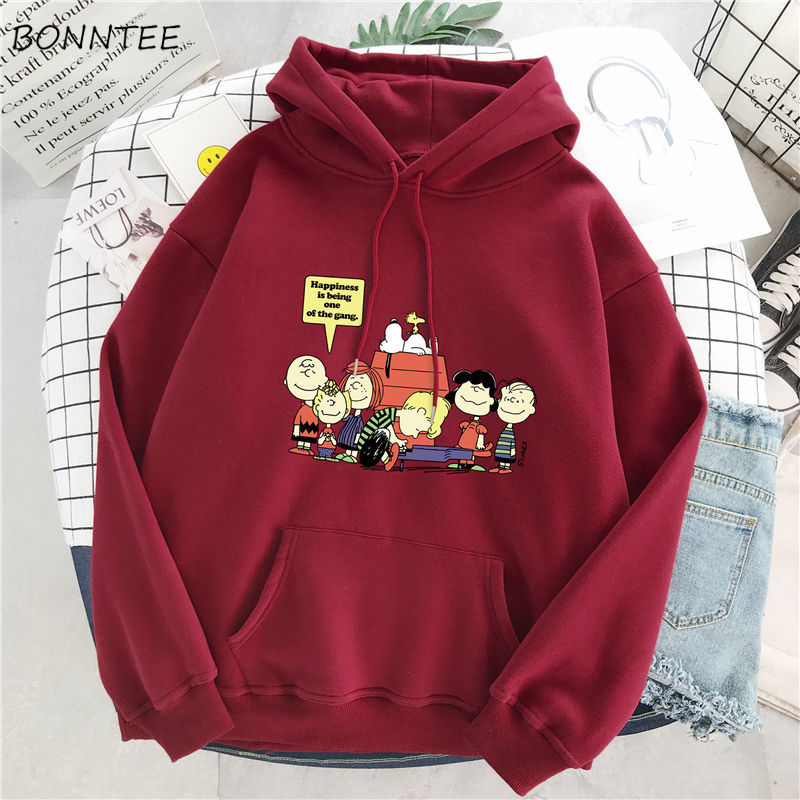 Hoodies Women Cartoon Print Drawstring Long Sleeve Daily Ulzzang Harajuku Oversize Womens Student Korean Style Comfortable Loose