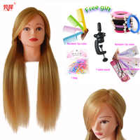 Hot Sale Hairdresser Dolls Head For Braiding Blonde Hair Mannequin Head Hairstyle Wig Head Female Hairdressing Training Head