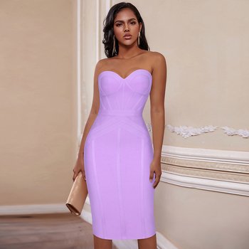 Ocstrade Lilac Strapless Bandage Dress 2020 Summer Knee Length Women Bandage Dress Bodycon Sexy Club Evening Party Dress ruched knee length smock dress