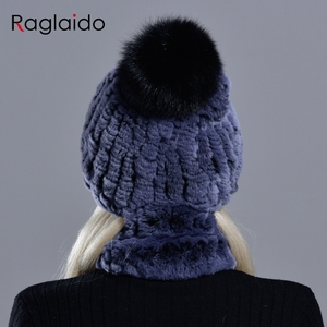 Image 3 - rabbit fur pompom hat ring scarf set womens winter fashionable natural fur knitted caps neck warmers for girls female