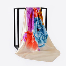 Fashion Floral Print Satin Hijab Scarf For Women Kerchief Shawl Neck 90*90cm Square Shawls and Wraps Scarves Lady 2019
