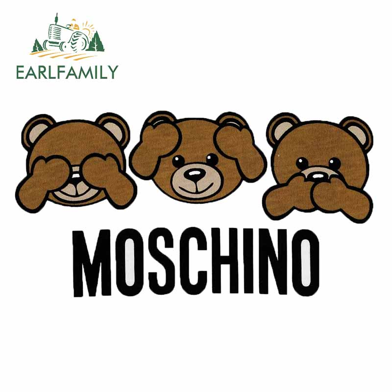 EARLFAMILY For Moschino Bear Logo Car Sticker Motorcycle Car Door Computer Bumper Waterproof Laptop Computer Decals
