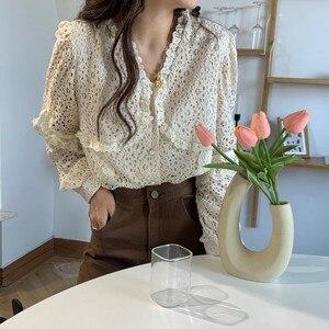 Alien Kitty Korean Gentle Elegant New Fashion Blouses 2020 Women Foreign Style Hollow Flower Sweet Loose Long Sleeve Shirts