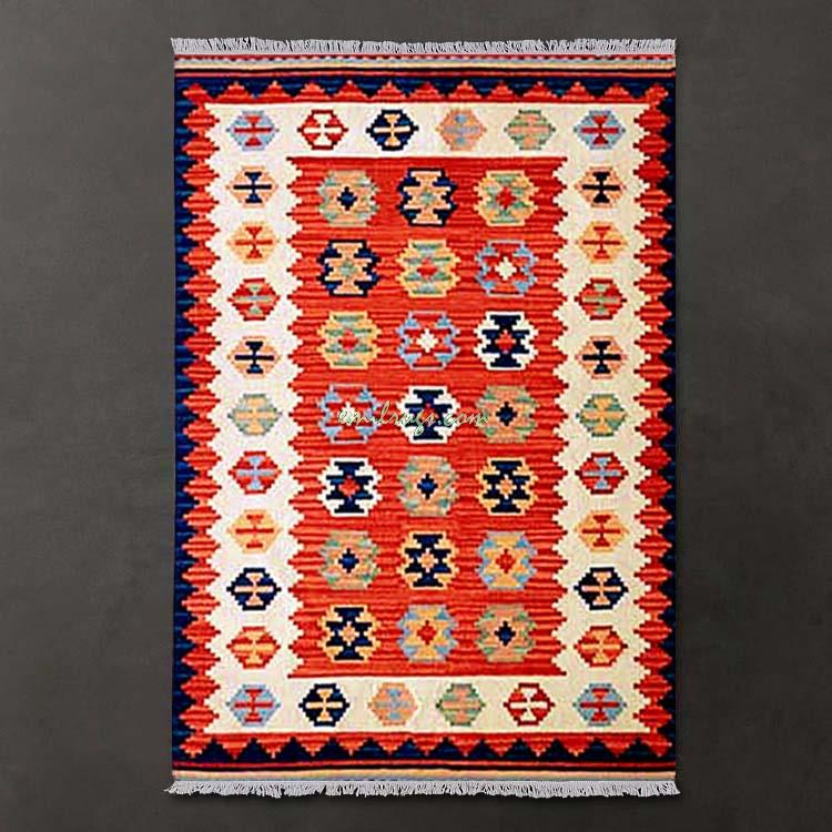 Kilim tapis sol fait main turc canapé couverture motifs géométriques laine tapis tapis
