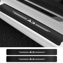 4PCS Carbon Fiber Protector Vinyl Car Scuff Plate Door Sill Guard Car Stickers For Audi