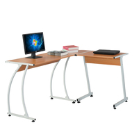 L Shaped Durable E1 15MM Chipboard & 0.7mm Steel Arc Legs Splicing Computer Desk for teachers students or businessmen Wood Color