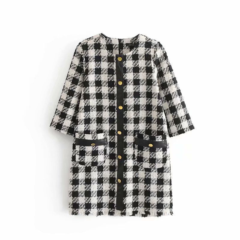 2018 Autumn WOMEN'S Dress Black And White Plaid Tweed Dress 8754