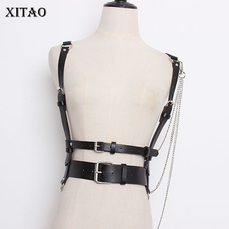 [XITAO] 2019 Spring New Concave Molding Hierarchical Chain Decoration Removable PU Leather Women Solid Color Cummerbunds WBB2033
