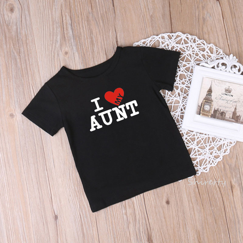 Summer Baby Clothes I Love My Aunt Children T-shirt Short Sleeve O-neck T Shirt Baby Gilrs Cotton Tshirt Kids Clothing 1-10Y