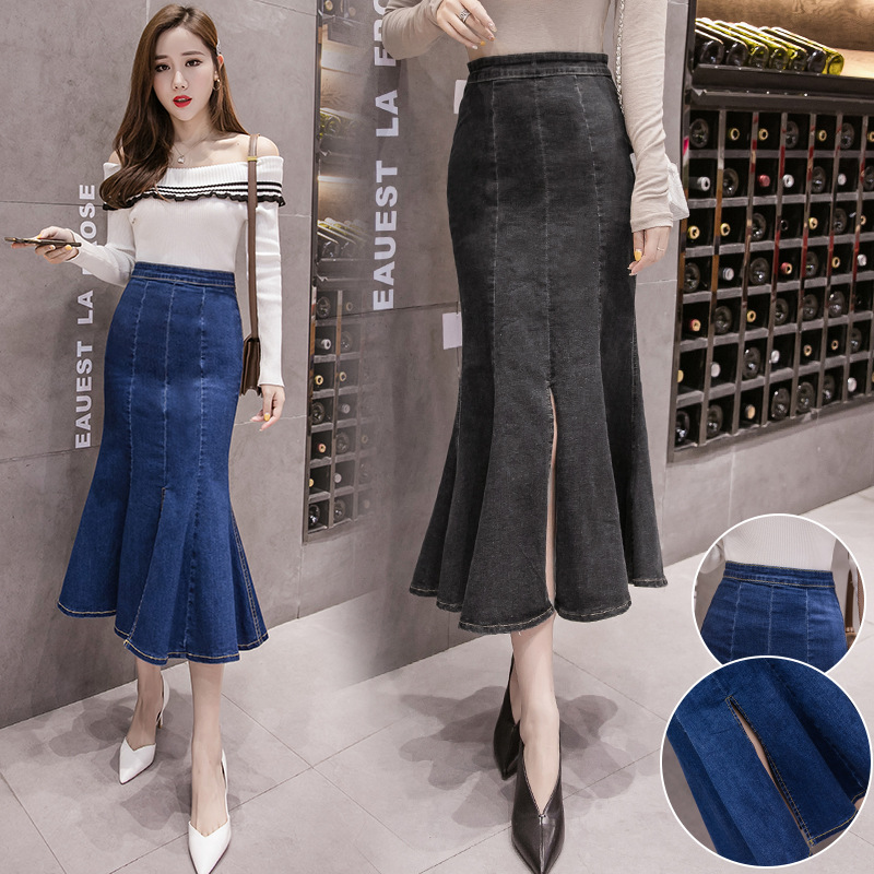 2019 Spring And Autumn New Elasticity Wrap Slit-Front Denim Skirt High-waisted Sheath Fishtail Skirt Mid-length Women's