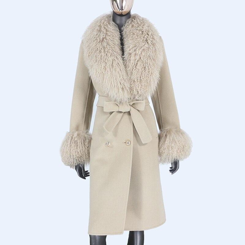 H4f4f372cb3fa42baaacbe5fe9e31de27C 2021X-Long Natural Mongolia Sheep Real Fur Coat Autumn Winter Jacket Women Double Breasted Belt Wool Blends Overcoat Streetwea