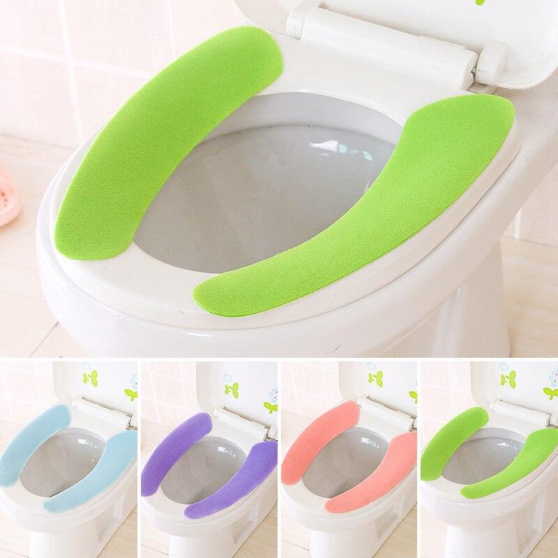 화장실 좌석 커버 소프트 wc 붙여 넣기 화장실 좌석 패드 빨 수있는 욕실 따뜻한 좌석 뚜껑 패드 화장실 closestool 스티커 좌석 매트