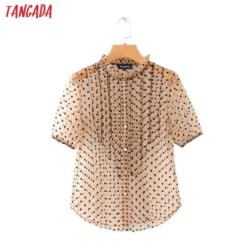 Tangada Women Dot Pleated Ruffles Transparent Shirt Summer Fashion Mesh Blouse Short Sleeve Female Chic Tops 2M75